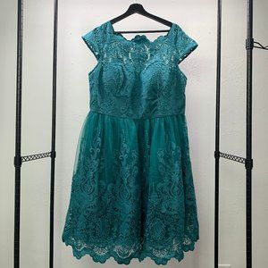 Lacy teal cocktail dress